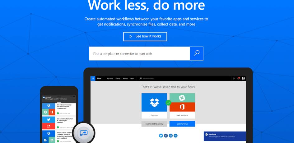 Microsoft Flow Homepage
