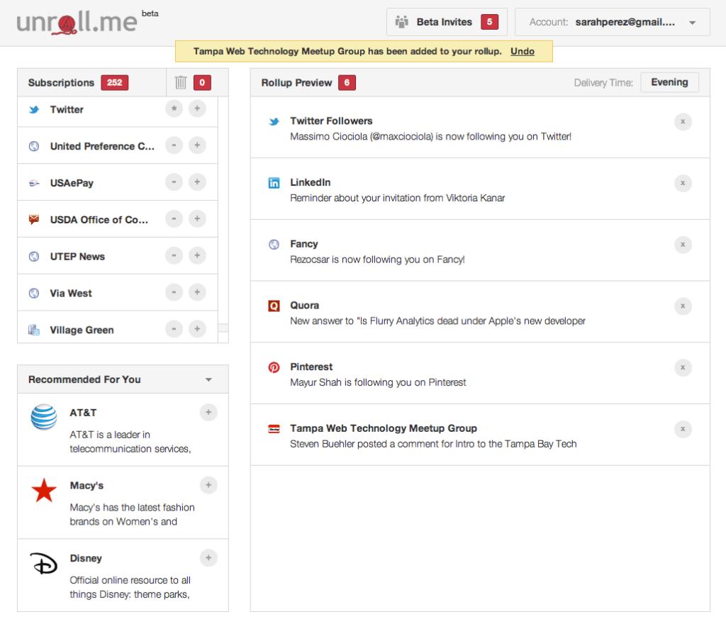 Gmail Addons: Unroll.me Screenshot