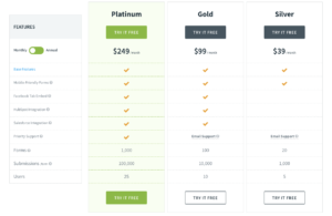formstack pricing screenshot