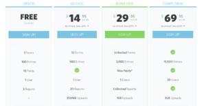Wufoo pricing screenshot
