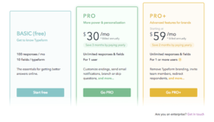 typeform pricing