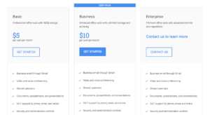 google apps pricing screenshot