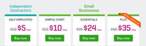 quickbooks pricing screenshot