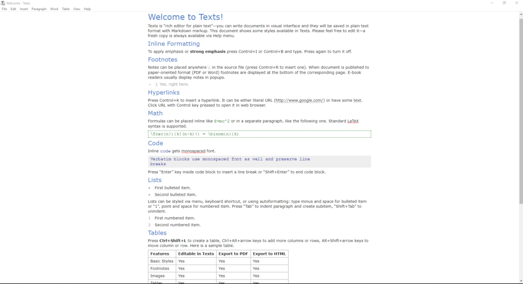 texts software documentation tool