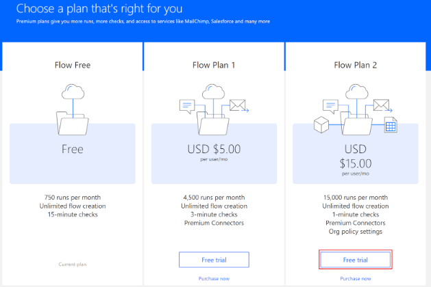 Microsoft Flow pricing