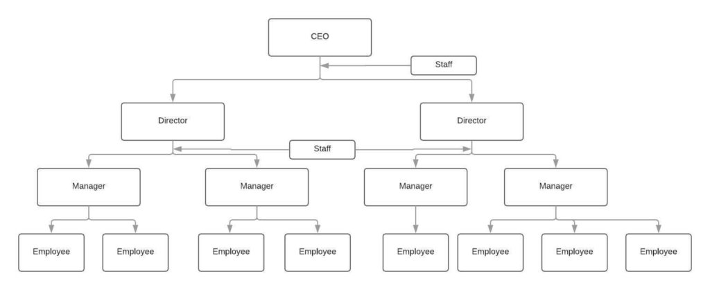 line and staff organizational structure graph