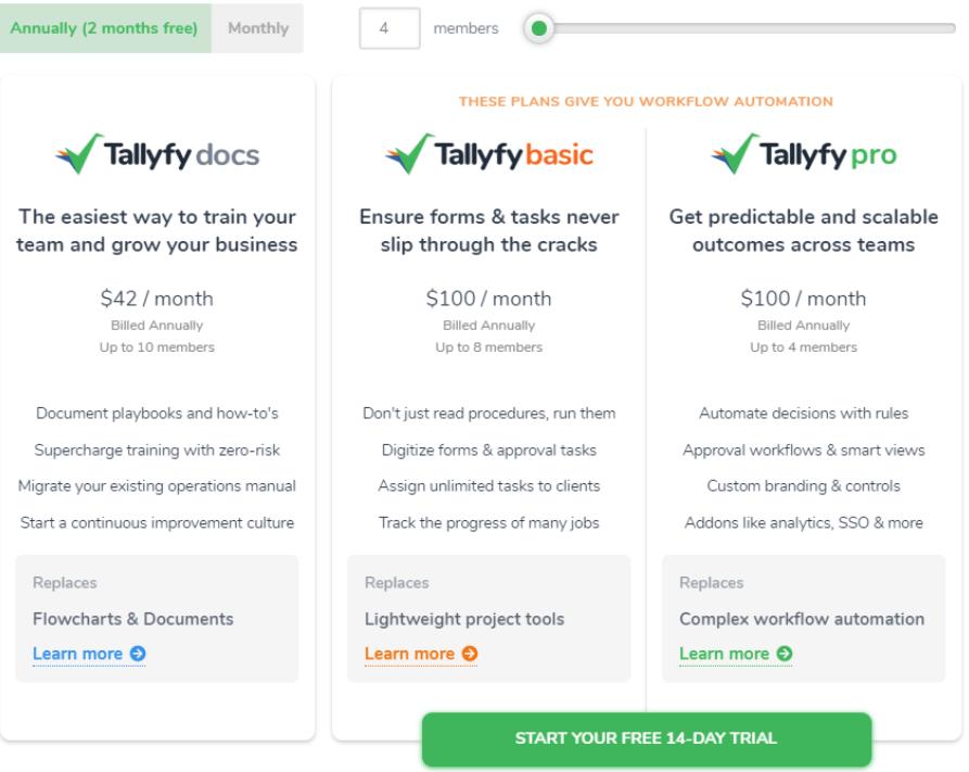 Pricing model Tallyfy