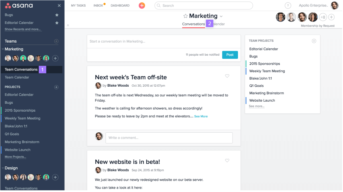 Asana project management