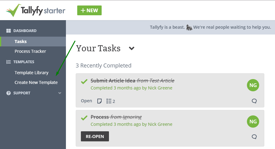 tallyfy platform create new workflow document template